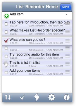 Screen capture of the initial List Recorder Home screen in edit mode.