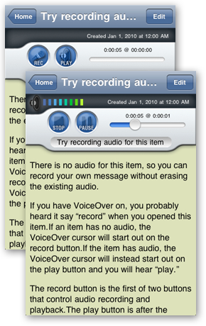 Two Screen captures of the item detail screen for the introduction item 'Try recording audio for this item'. Initially the Record and Play buttons appear. During audio playback, the Stop and Pause button replace the Record and Play buttons. The slider becomes active.
