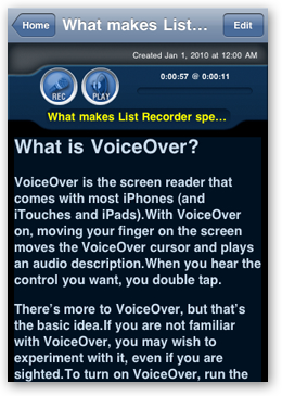Screen capture of the item detail screen for the introduction item 'What makes List Recorder special?' displayed in white on black mode. The text area is scrolled to the section on 'What is VoiceOver?